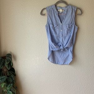 Tops - H&M Button Down Sleeveless Striped Top